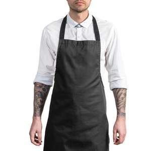 Black apron set Promotional Customized Polyester Cotton Chef Cooking Kitchen Apron With Adjustable Button