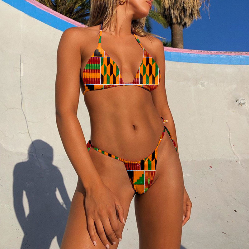Latest Design African Print Swimwear Bikini Set Digital Print Women Swimwear Beach Wear African Clothing