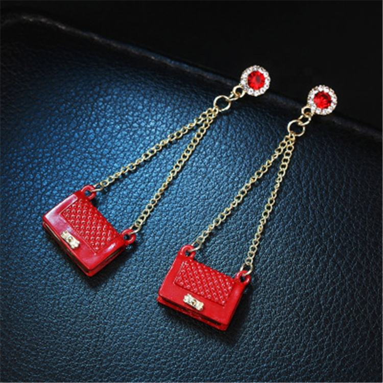 Korean Creative Long Statement Geometric Bag Tassel Dangle Drop Women Earrings Fashion Jewellery