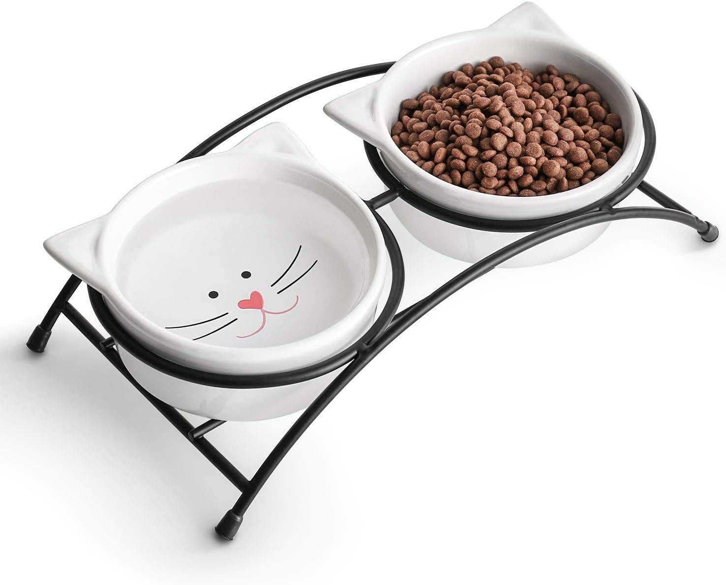 Ceramic Raised Cat Food or Water Bowls Double Pet Bowls with Metal Stand Cute Cat Ear Design