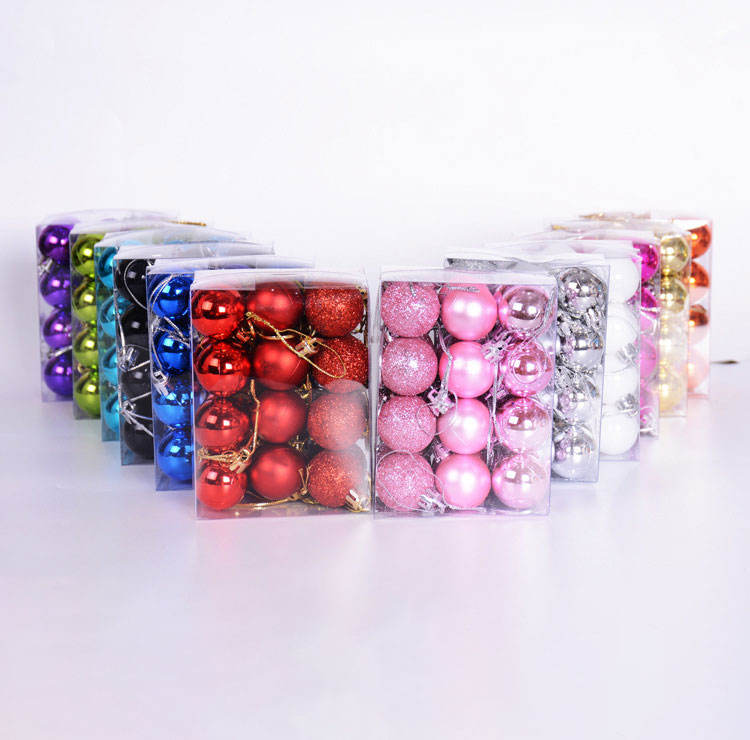 Box of 24 Christmas light ball 3cm plastic Christmas tree ball small pendant Christmas decorations