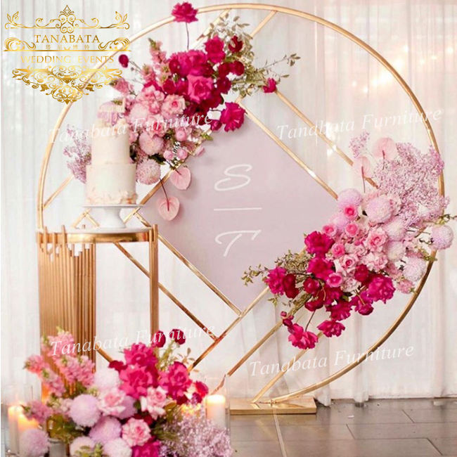 wholesale round wedding decoration gold stainless steel wedding mesh backdrop