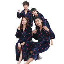 Parents and children's pajamas three autumn winter flannel thick matching boys and girls  bathrobe