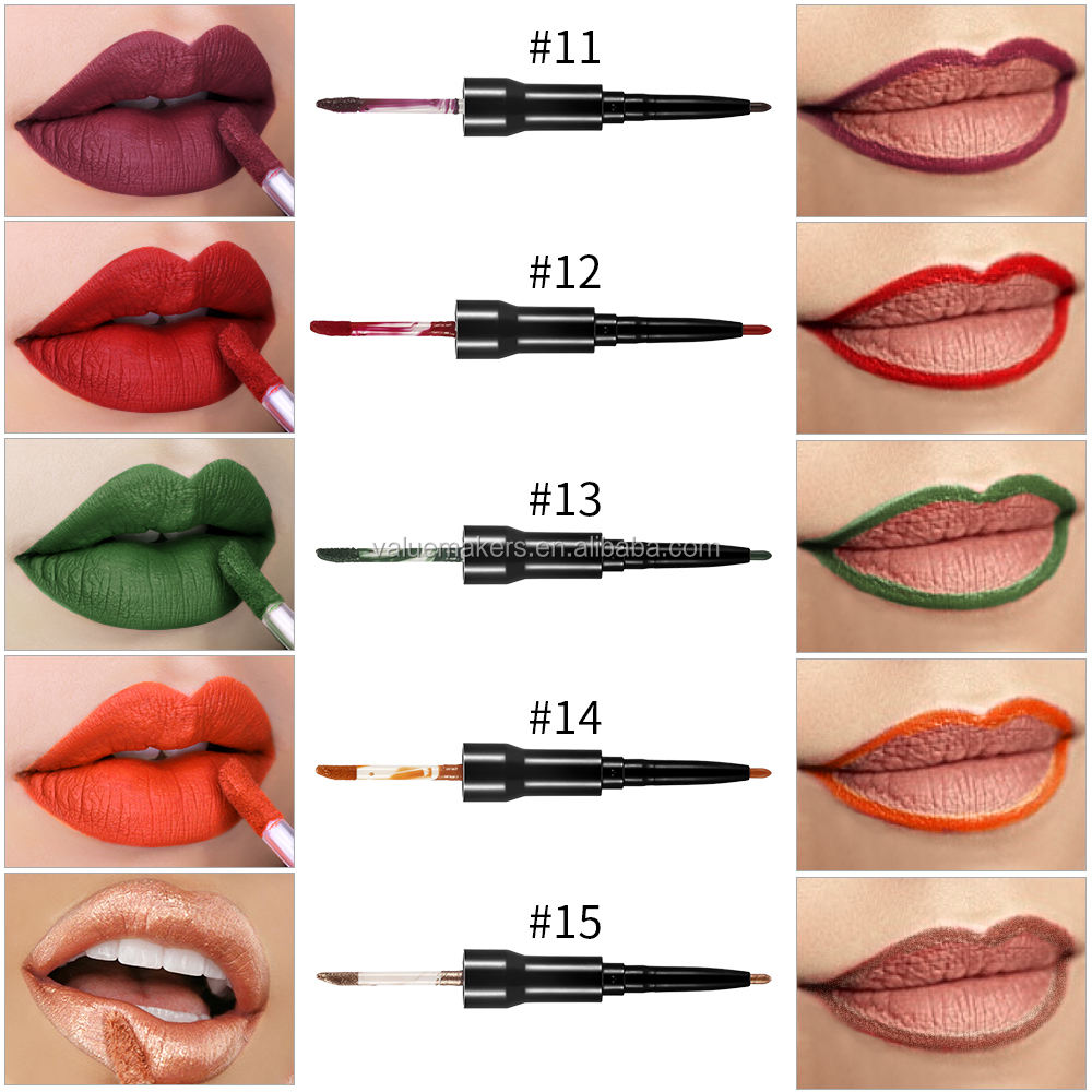 HOT! 2 in 1 Lipgloss 15 shades Matte Lip Gloss Liquid Lipstick Lip Liner Pen Lipliner Pencil Private Label Lip Stick waterproof