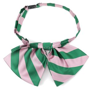 Casual Style Polyester Made Striped Design Custom Alpha Kappa Alpha Logo Woven Pink Green Hot Sell Lady Bow Tie