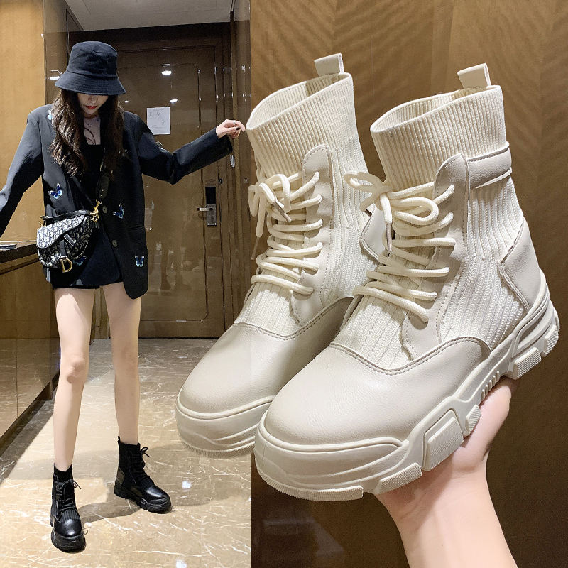 2020 fashion Boots leather High-top Sport Shoes Height Increased Female Ankle Boots zapatos muje designer ankle socks boots