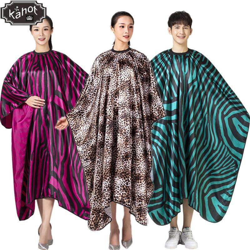 1pcs Professional Salon Hairdressing Apron Hair Cutting Satin Large Zebra Leopard print Cape Barber Styling Hairdresser apron