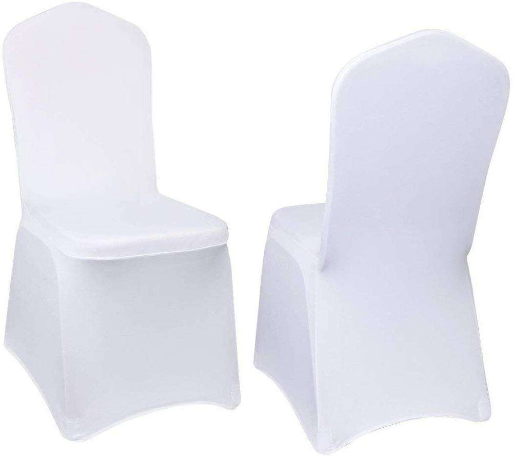 100 Pcs White Chair Covers Polyester Spandex Stretchable Chair Cover Stretch Slipcovers For Wedding Party Dining Banquet
