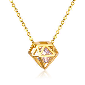 Custom 18K Gold Plated Stainless Steel Jewellery Diamond Pendant Necklace Jewelry Necklace
