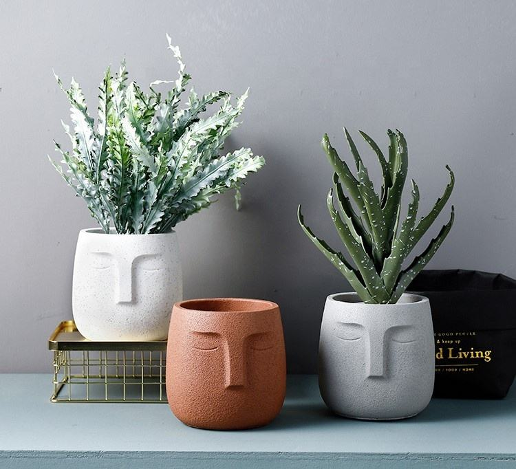 Modern Cement plant pot abstract face simple personality matt sandblasting Nordic indoor garden green planter pot
