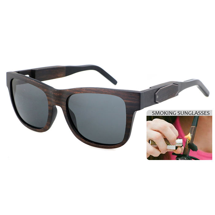 2020 newest smokable acetate and wooden sunglasses high quality smoked pipe sun glasses