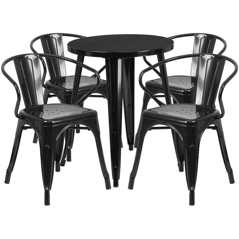 New Design Modern 31.5'' Round Dining Height Black Metal Outdoor Bistro Table and Chairs