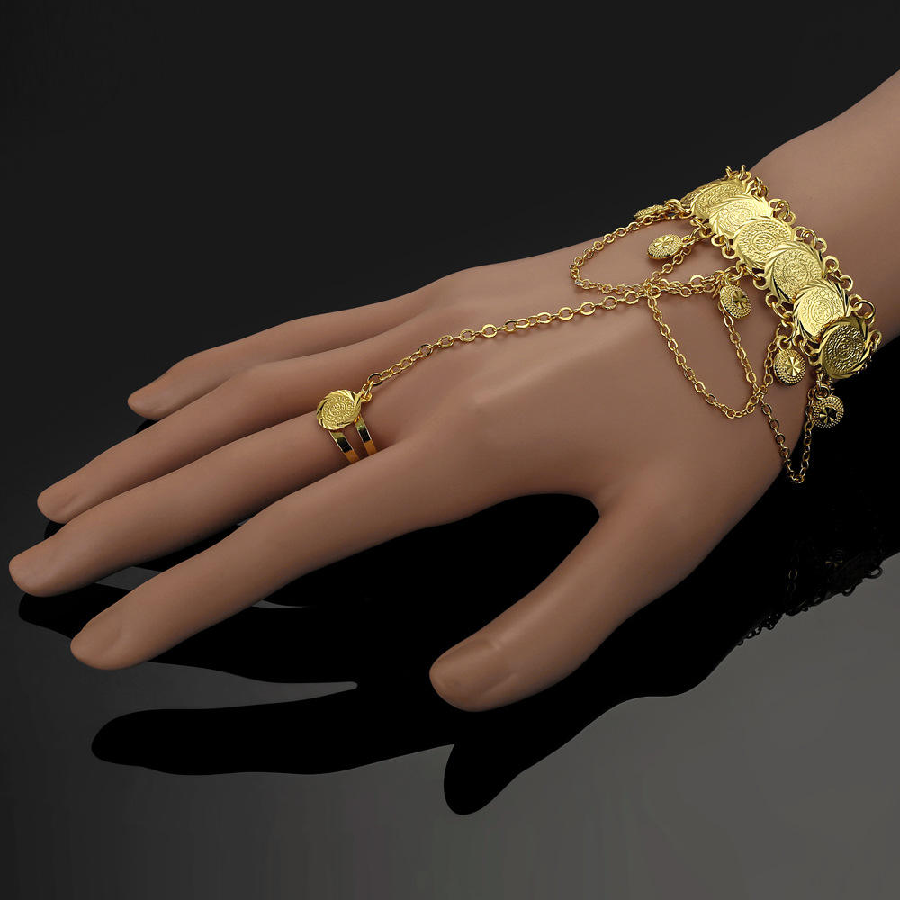 Ethlyn National Style Wedding Dance Bracelet With Ring Ornaments Copper Gold Plated Color Preserving Bangle Jewelry BT2107