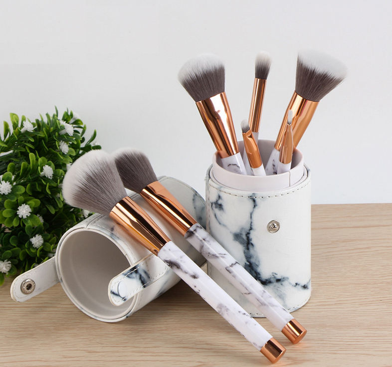 makeup brush pu case cylinder case 7pcs marble makeup brushes