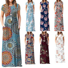Women 2019 Clothing Summer Long Beach Bohemian Dresses Lady Short Sleeve Loose Maxi Casual Boho Shirt Dress with Pockets