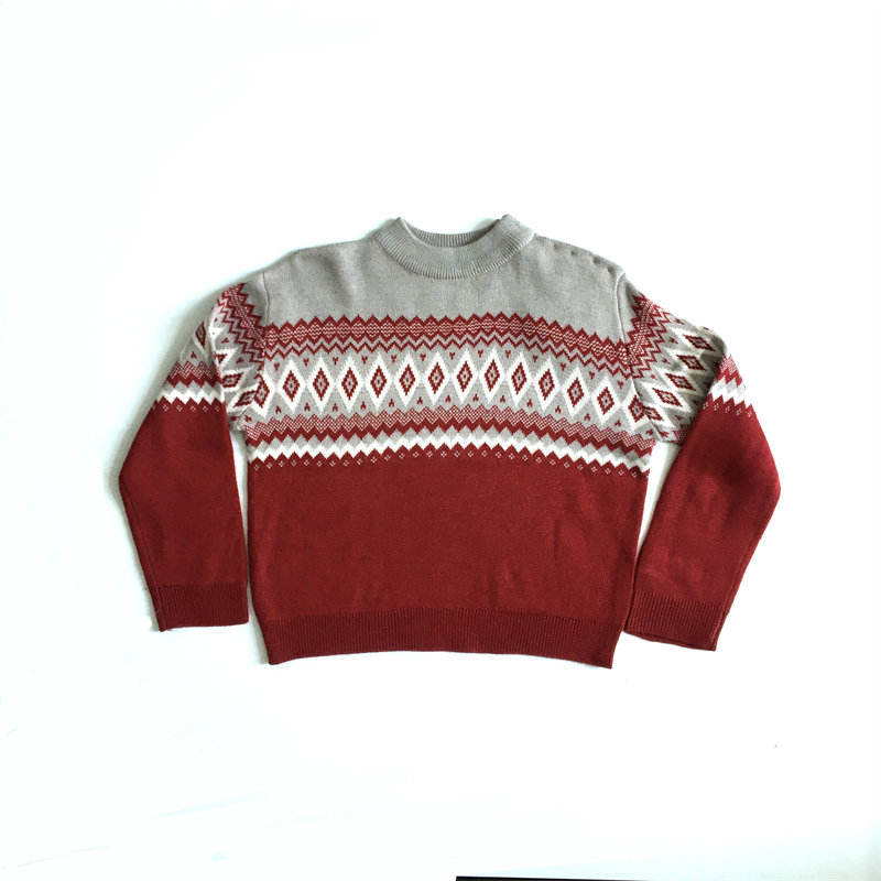 Basic Style Hand Knitting Merino Wool Kids Pullover Sweater for Baby Boy