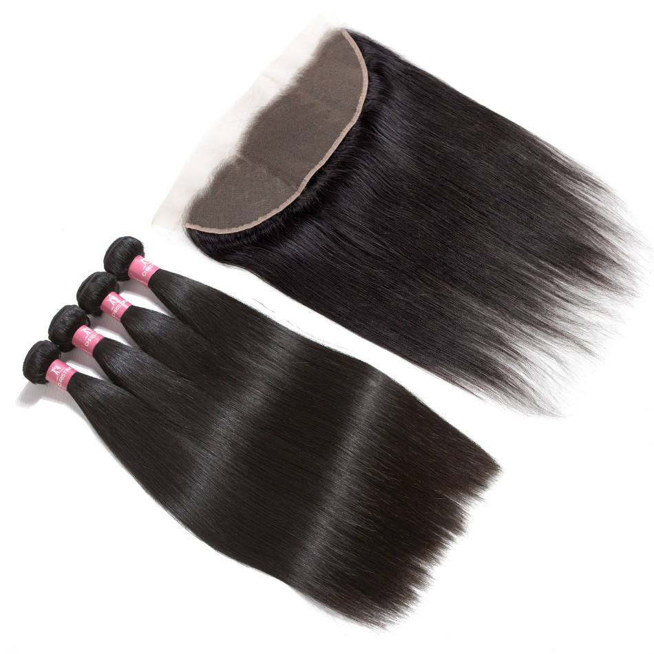 40 Inch 100% Human Hair Mink Peruvian Cuticle Aligned Raw Virgin Straight Bundles with Ear to Ear Frontal Closure