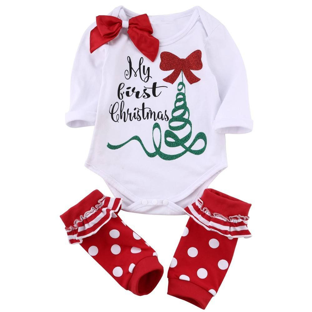 Christmas Clothes Newborn Baby Boys Girls Tops Romper Pants Hairband 3PCS Outfits Set