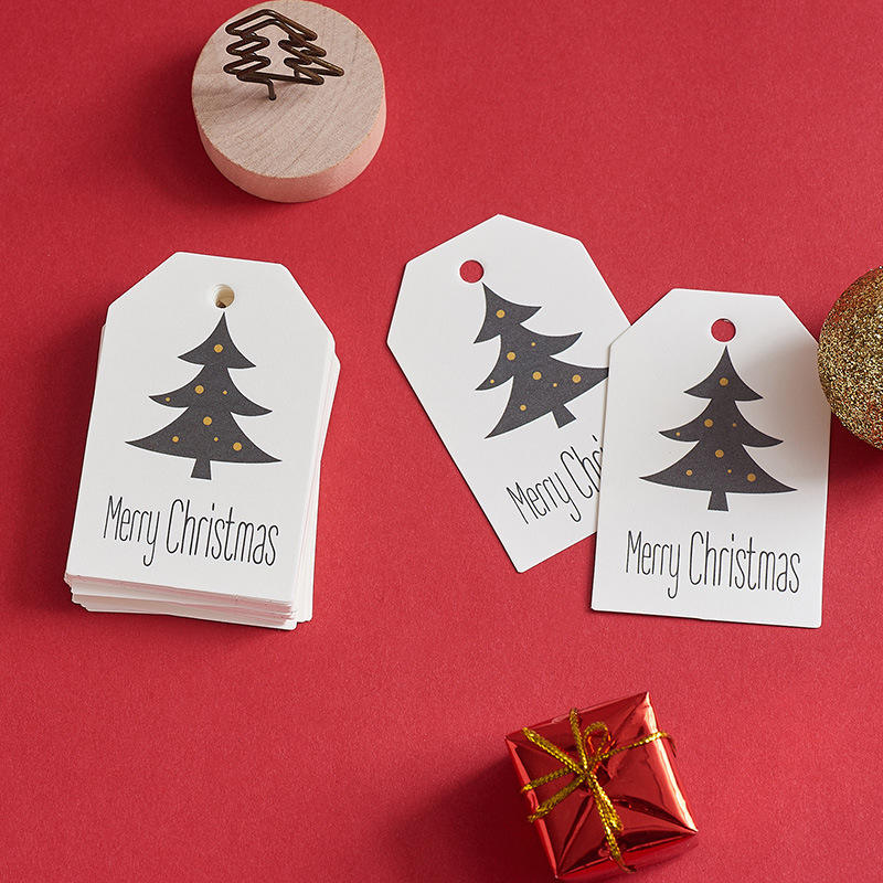 high quality custom printed paper Christmas Gift Tag with cotton string