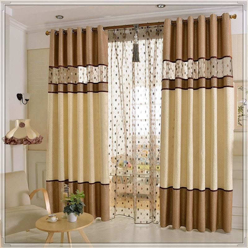 Cheap Brown Grey Purple Colour Embroidered window curtains