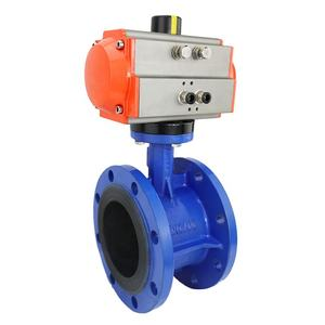 Bundor Pneumatic Flanged End Ductile Iron Disc Butterfly Valve Manufacturer