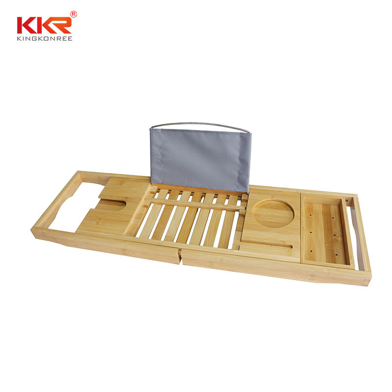 Natural Bath Bamboo Bathtub Caddy Tray with Extending Sides