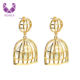 AIDAILA European Style Women Exaggerate Gold Plated Birdcage Large Fashion Big Pearl Earrings