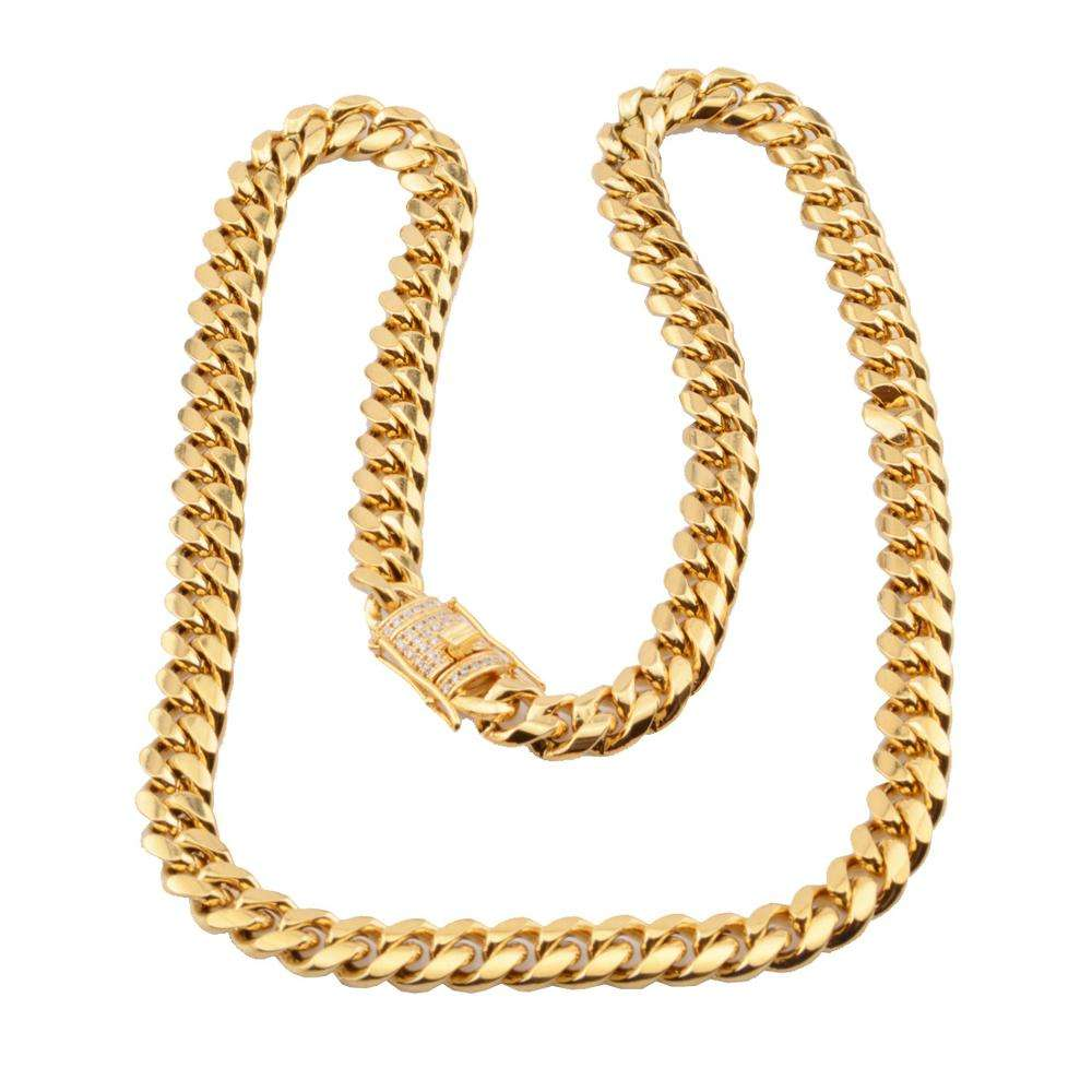 All Size Available Cuban 18K Gold plated Mens Hiphop Necklace curb cuban link Personalized Cuban Link Chain dog collar chain