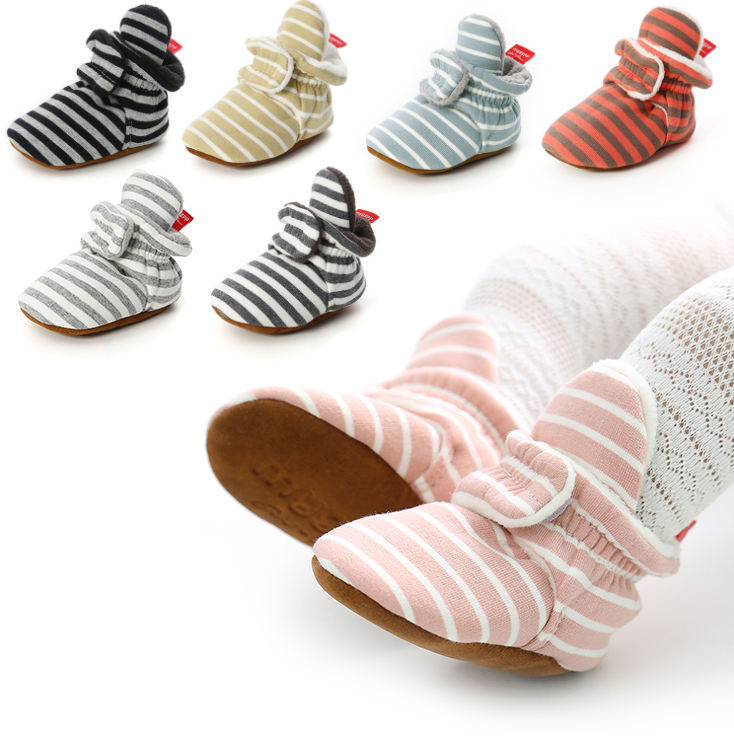 Wholesale cheap Cotton fabric striped print socks soft sole prewalk boy girl baby booties