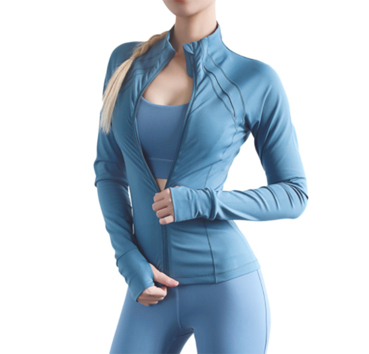 Wholesale Private Logo Printing Active Wear Nylon Spandex Quick Dry Slim Women Sports Coat Yoga Jackets