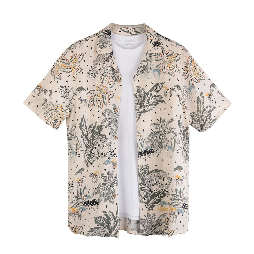 High quality trendy funny custom rayon aloha mens printed floral shirt short sleeve