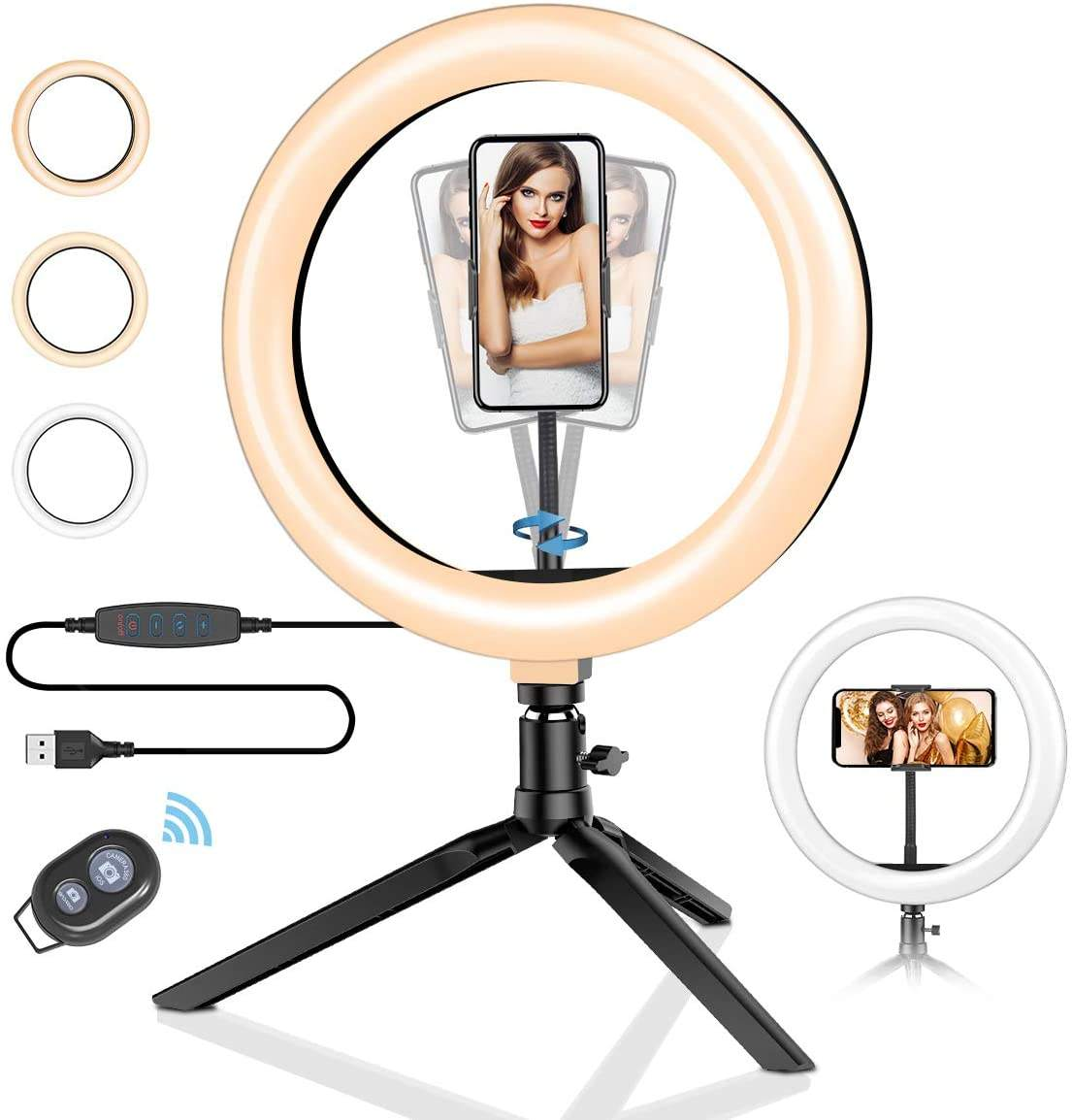 10 inch led circle ring light with tripod stand and Phone Holder for YouTube Video Live Stream Makeup Photography