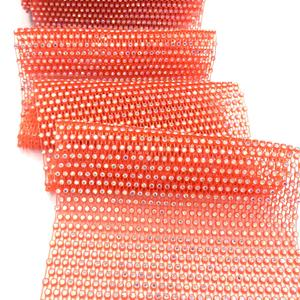 S265 Neon Orange 10Yards Stretch Crystal Diamond Mesh Strass Rhinestone Net Mesh Pemangkasan