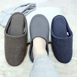 Wholesale 100% Cotton Non-slip TPR Sole Casual Shoes Soft Bedroom Male Female Home Slippers