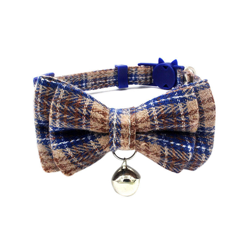 pet accessories colorful plaid pet cat dog bow collar with bell