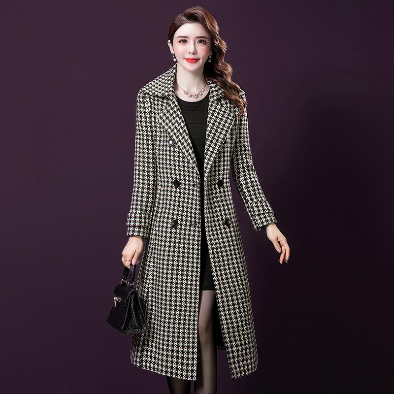 Amazon Hot Sale New Arrival Plover Case Woolen Long Coat Thicken Double-breasted Slim Fit Women's Coat