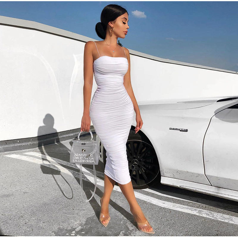 Career Womens Long Knee Length Spaghetti Strap Beauty Big Size Africa Casual Elegant White Dress