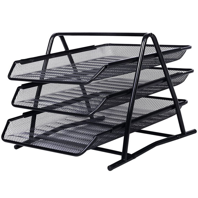Sliding Wire Mesh 3 Tier Document Desktop Letter Office Tray Organizer Mail Stackable File Paper Desk Organizer