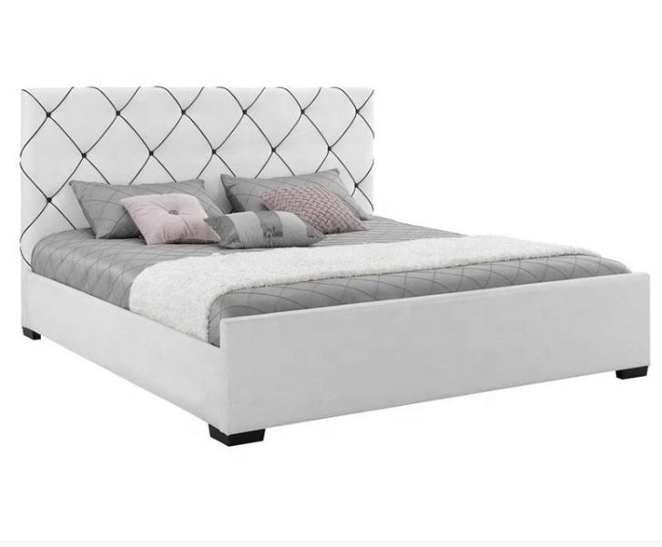 Contemporary style queen size white faux leather bed