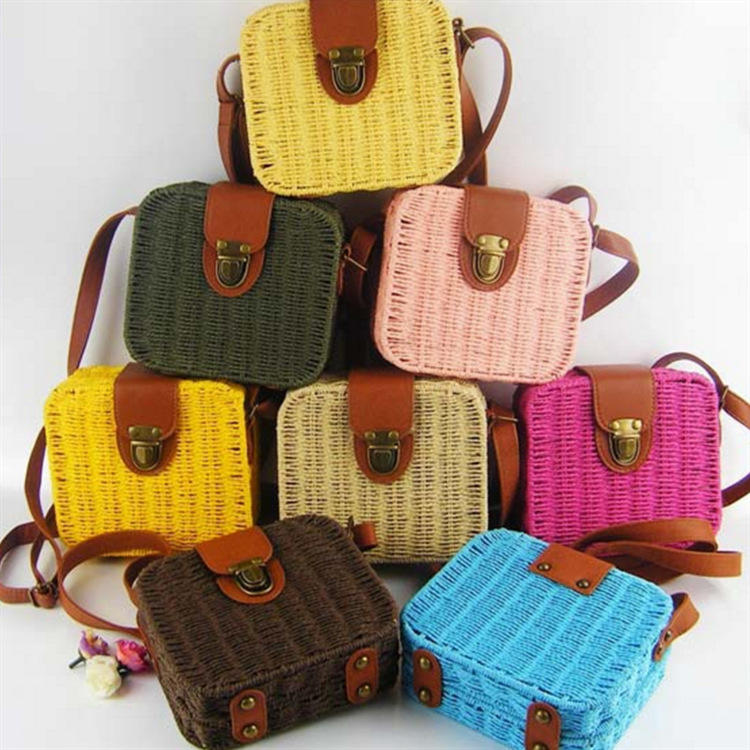 Wholesale Candy Color Square Cute Lady Beach Handmade Rattan Pack STRAW BAG