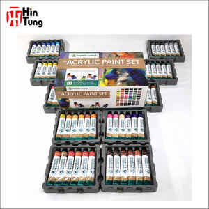 Amazon Hot Sale 60 Colors Artist Acrylic Paint Set In Paper Box With A Acrylic Pad