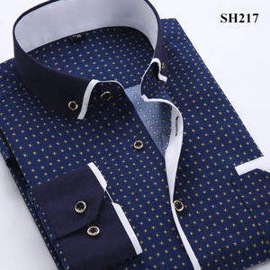 Nieuwe Collectie Koreaanse Style Fashion Gedrukt Lange Mouw Heren Shirt Casual Business Slim Fit Man Sociale Shirts