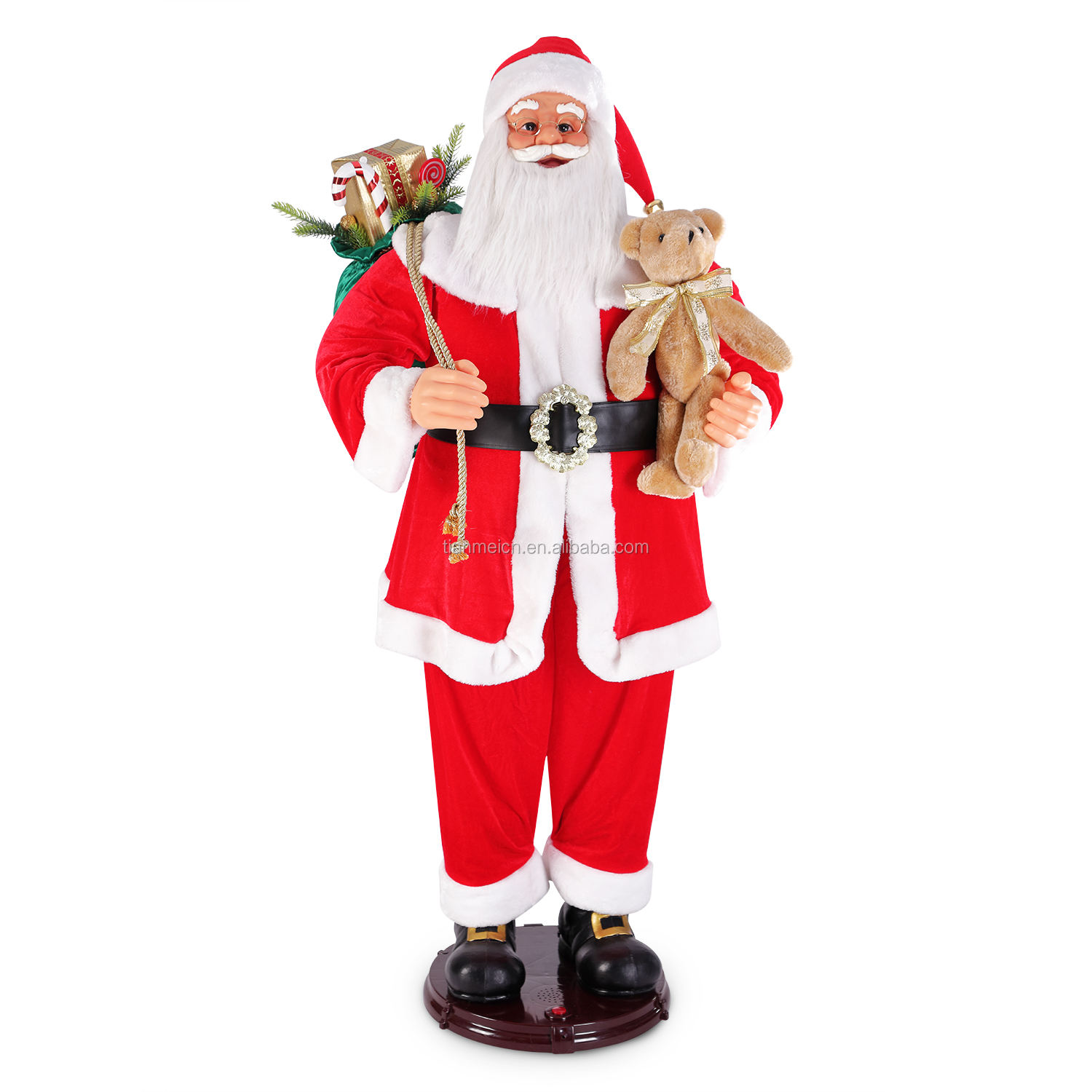 150cm Life Size Animated Rock Singing and Dancing Santa Claus Figurine Holiday Gift Collapsible Decoration Collection Sensor