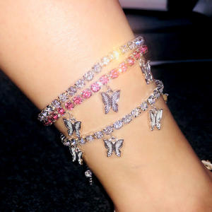 2020 hot sale stainless steel diamond butterfly anklet charm body choker jewelry rose gold plated ankle bracelet