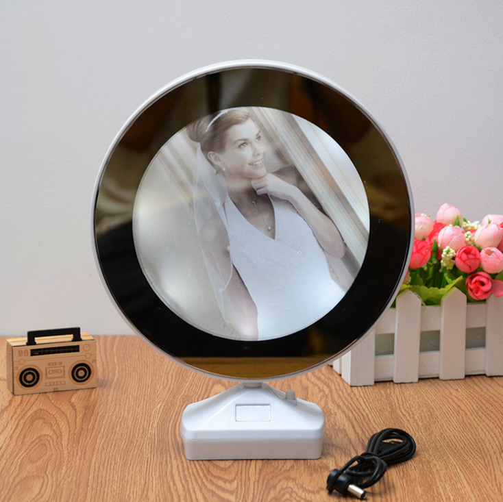 Hot Selling Creative Magic Mirror Photo Frame With Multi-Function LED Plastic Photo Frame With Lamp