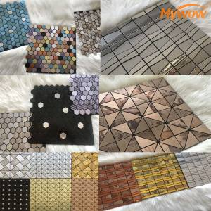 MyWow Mosaic Golden Tile Bathroom Decoration Glass 300*300mm