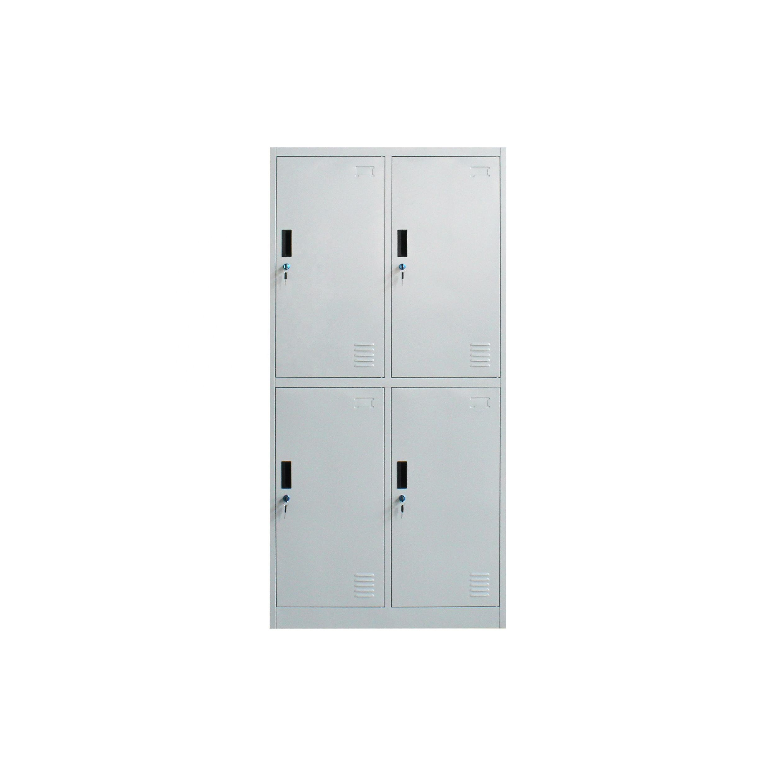 Commercial light gray steel office furniture metal 4 doors clothing locker/wardrobe