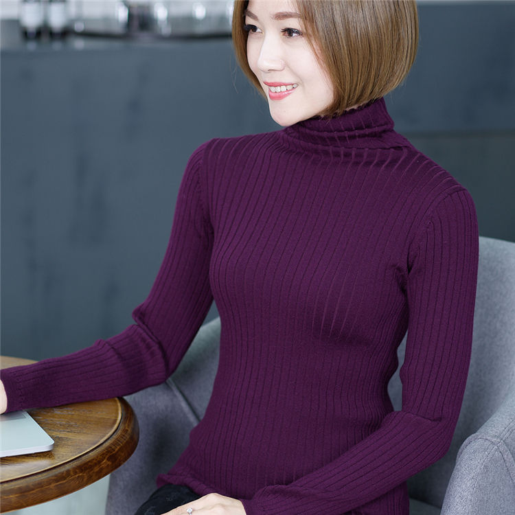 Women Turtleneck Fancy Pullover Long Sleeve Round Neck Plain Color Sweater For Women Simple Fashion Turtleneck Wool Knitted