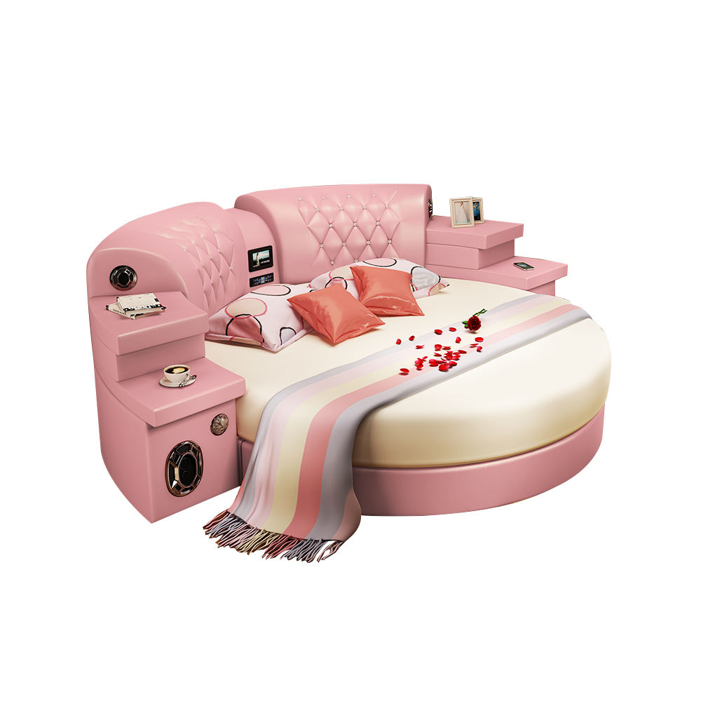 Smart Round leather couple bed princess bed with multi-function speaker massage USB LED light bed bedroom furniture