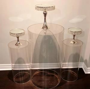 clear (3pcs/set) crystal Acrylic Cylinder Pedestal Round Plinth For Wedding Decoration Backdrop Display Stand Rack